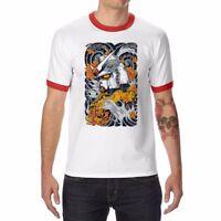 Gundam Funny T-shirts Ringer Men's Cotton Short Sleeve White Tops tee XXL XL