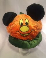 Disney Parks HALLOWEEN PUMPKIN Mickey Mouse Ears Plush HAT Rare Euc