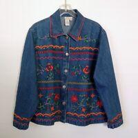 Southwestern Boho Floral Embroidered Denim Jean Jacket