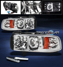 1994-2001 DODGE RAM CCFL HALO PROJECTOR HEAD LIGHTS W/DRL LED KIT 1500 2500 3500