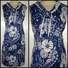 VINTAGE 60S PYCHEDELIC FLOWERS TIE NECK SHIFT DRESS UK 18 20