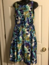 Evan-Picone- Multi-color Floral Print A-line Boat Neck Sleeveless Dress- Sz 12