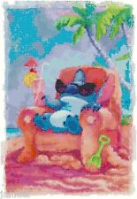 "Disney's Lilo and Stitch's ""Relaxing Beachside"" Cross Stitch Pattern CD Fantasy"