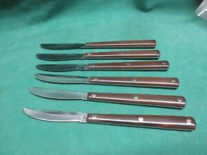 6 CUTCO 47 Table/Steak Knife Razor Sharp! Brown Handle ~ factory refurbished
