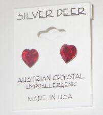 Red HEARTS Austrian Crystal Earrings 8mm Pierced New Silver Tone Hypoallergenic