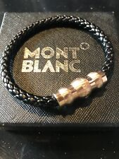 MontBlanc Rose Gold and Black leather woven with steel magnetic Mens bracelet