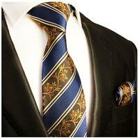 Paul Malone Krawatte braun blau Seide + Einstecktuch + Manschettenknöpfe 390