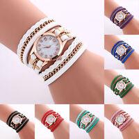 Fashion Women Watch Crystal Leather Strap Braided Bracelet Quartz Wrist Watch