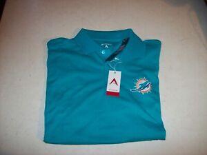 Antigua Men's Medium Green Miami Dolphins Dri-Fit Polo Shirt NEW W/ TAGS