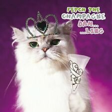 Champagne Kitty White Persian Cat in Tiara Birthday greetings card foil detail