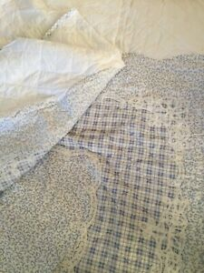 blue and white French Country king size quilt with lace applique