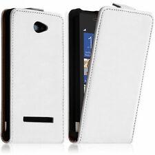 Housse Coque Etui Pochette PU Vrai Rabat Cuir BLANC Pour HTC Windows Phone 8S
