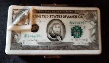 Rare One Hundred Dollar Bill $100 Eximious Limoges Trinket Box Peint Main France