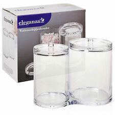Clear Acrylic Cotton Pad and Ear Bud Holder Cosmetic Organiser Storage Jars New