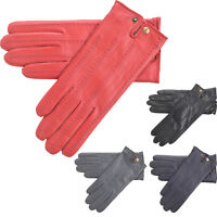 Ladies Super Soft Genuine Leather Casual Gloves Popper Fastening Fleece Lining