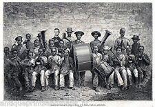 Antique print Gabon Africa / children musicians band Missionary  1876 gravure