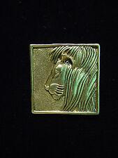 """JJ"" Jonette Jewelry Antique Gold Pewter 'LION PROFILE' Square Pin"