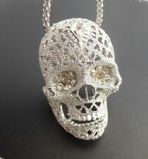 Betsey Johnson Free Shipping skull silver large rhinestone crystal necklace # N4