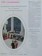PUBLICITE VOITURE CADILLAC DINER MAISON BLANCHE 1929 AD