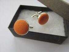 Handmade Stylish Orange Cotton Fabric Inlay Mens Cufflinks Gift Box Husband Dad
