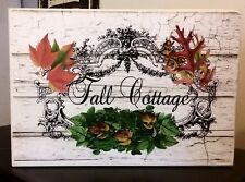 Vintage Wooden Sign Fall Cottage Sign Chic and Shabby Autumn Botanicals Leaves