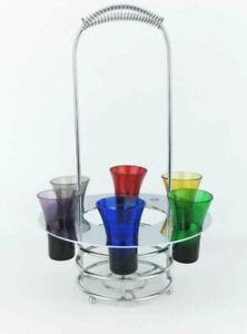Godinger Silver Art Co. Chrome Wine Bottle Holder W/Colored Glasses(7 pcs) Retro
