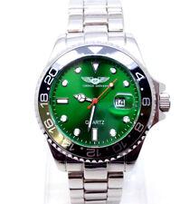 021R da uomo nuovo stile Vintage Orologio da Polso Cinturino in Metallo Argento Lusso Quadrante Verde