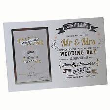 Vintage Signography Range - Mr & Mrs Wedding 6x4 Photo Frame with Wording