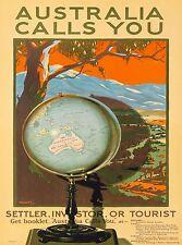 Australia Calls You Australian Globe Map Vintage Travel Advertisement Poster