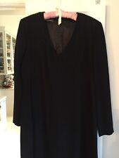 Louis Feraud LBD Black Wool Crepe Dress Size 10 Long Sleeves