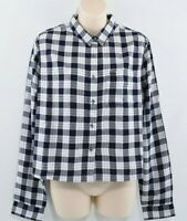 SUPERDRY Women's Crop Check Shirt, Navy Flare Check, size M / UK 12