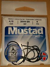 Mustad 39944-BN 4/0 Perfect Circle Inline Tournament Approved Fishing Hooks Qty8