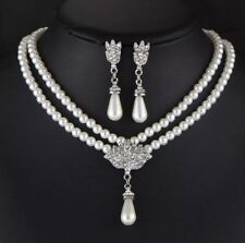 Bride Wedding White Pearls Beads Choker necklace set vintage style victorian UK