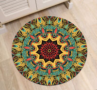 Bohemian Floral Round Carpet Bedroom Floor Anti-Skid Rug Fitness Yoga Bath Mat