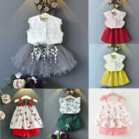 2PCS Toddler Kids Baby Girls Outfits Clothes T-shirt Tops+Pants/Shorts/Skirt Set