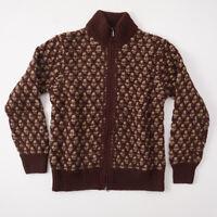 NWT $800 CRUCIANI Brown Patterned Knit Full-Zip Chunky Wool Sweater M (Eu 50)