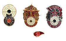 USSR Soviet Russian 4x Metal Pin Badge Set Best Sniper Shooter Gunner Award