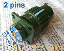 2 pcs Φ21mm 7/8'' Military Gold Plated Plug + Socket 2 pins Connector 500V 25A