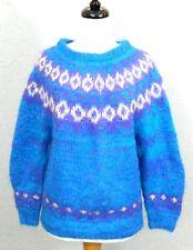 ICELANDIC DESIGN Mohair S HandKnit NORDIC Wool FUZZY SOFT Blue Womens