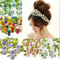 100 Ribbon Satin Rose DIY Flower Decor Bow Appliques Craft Sewing Leaves mixed