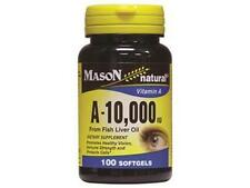 100 SOFTGELS Natural VITAMIN A 10,000 IU 10000 FISH LIVER OIL protects VISION