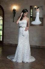 BNWT ANJOLIQUE WEDDING GOWN DRESS A500 SIZE 14 IN IVORY/BLUSH *RETAIL $2125*
