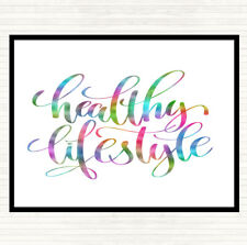 Healthy Lifestyle Rainbow Quote Dinner Table Placemat