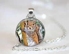 Vintage Squirrel on a Tree Tibetan silver Dome Glass Art Chain Pendant Necklace