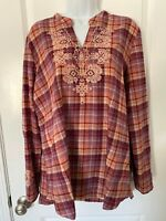 LOGO BY LORI GOLDSTEIN Flannel Shirt Sz 14 Red Plaid Embroidered Tunic Top EUC