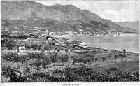 Salò: Panorama. Grande Veduta. Lago di Garda. Stampa Antica + Passepartout. 1893