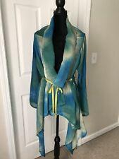 Bryn Walker NWT $218 turquoise blue 100% silk open front jacket sizeM/L
