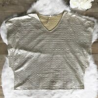 Seven For All Mankind - Size 22/24 - Women's Silver Metallic Blouse V-Neck Tops