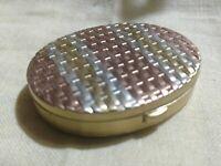 Tri-color Metal Weave VTG Mirror Powder Compact Hinge Lid Pocket Purse 1960's