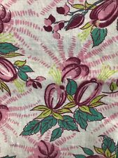 Vintage Feed Sack Fabric with a Pink Purple and Green Pattern